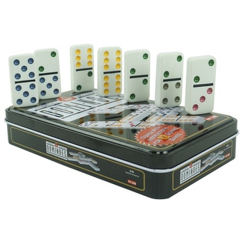 White dominos with colorful dot of domino colors in custom tin box