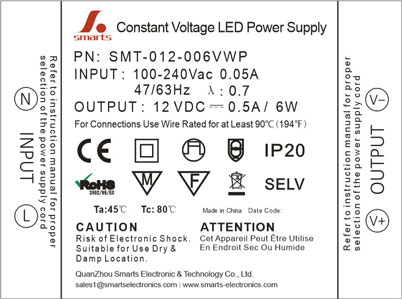 CE small IP44 6w led driver ultra thin plastic CV 12V dc power supply