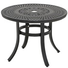 Outdoor Table Round with Umbrella Hole Cast Aluminum Patio Side Table Outdoor Round Dining Table with Umbrella Hole