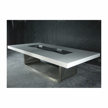 Professional Meeting Table 8,10,12,14,16,20 Seat Big 10' High Gloss White Solid Surface Materials Meeting Table Design