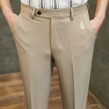 Мужские деловые брюки, повседневные облегающие деловые брюки для работы, цвета хаки, серый, 2020(Китай)