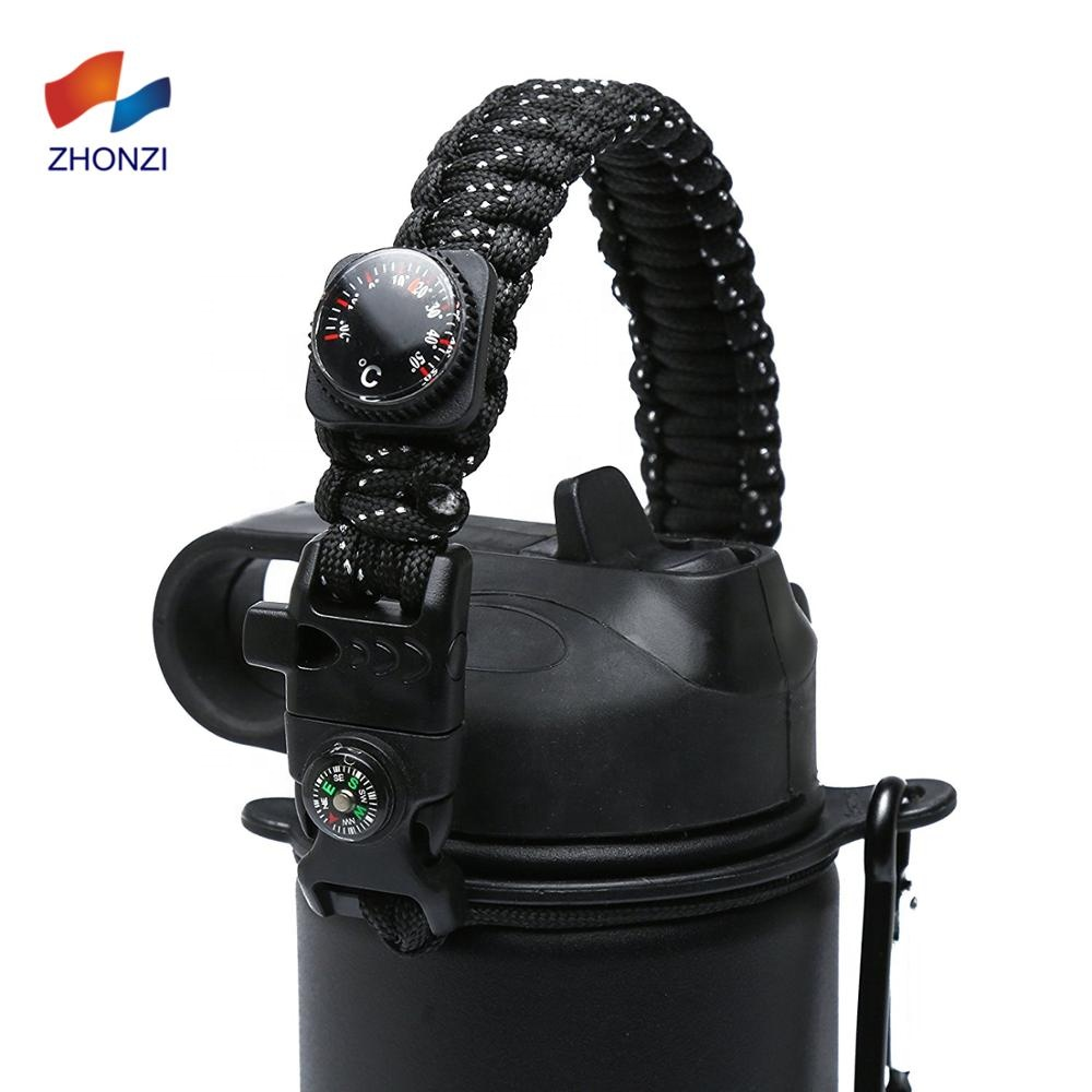 Multi function Handmade Braid Paracord Water Bottle Holder with Safety Ring Carabiner, Over 300 colors