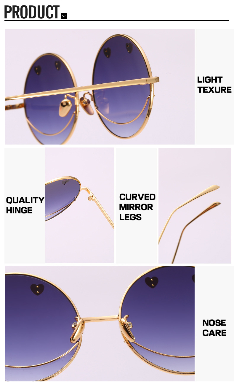 Cool Dazzle Heart Smile Face Round Frame PC Irregular Women Sunglasses