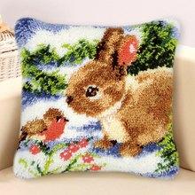 Подушка с защелкой в виде животных, коврики для ковров, наборы, фланелевый ковер с вышивкой, подушка с защелкой, подушка с рисунком, Рукодели...(Китай)