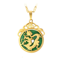 new arrival xuping jewelry brass copper gold 24K dubai dragon jade necklace pendant