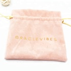 Jewelry Pouch Velvet Pouches Supplier Hot Sale Custom Logo Printed Drawstring Cosmetic Packaging Velvet Bag Pink Jewelry Pouch