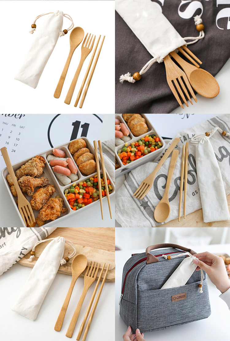 Wholesale Organic Bamboo Sustainable Cutlery Sets Knife Fork Spoon for Adults and Kids