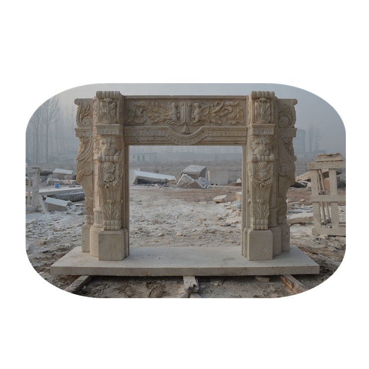 yellow travertine fireplace mantel hole stone fireplace with lion head