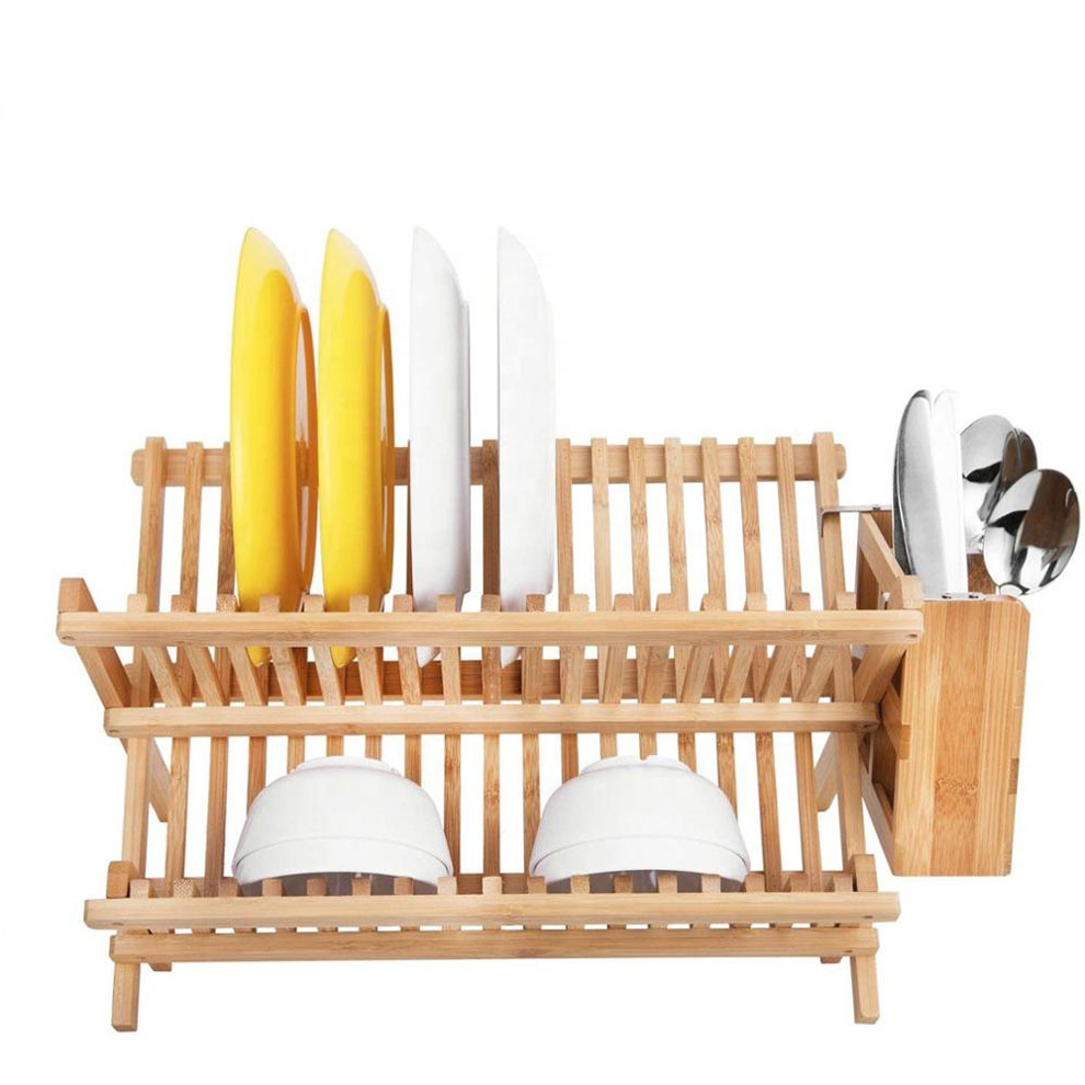 Wholesale Kitchen Bamboo Folding 2-Tier Collapsible Drainer Drying Dish Rack With Utensils Flatware Holder
