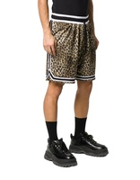 Mens High Quality Polyester Custom Leopard Print Striped Basketball Mesh Shorts
