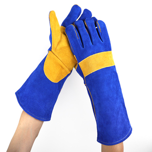 grade A royal blue top cow split leather reverse mens winter work safety welding glove