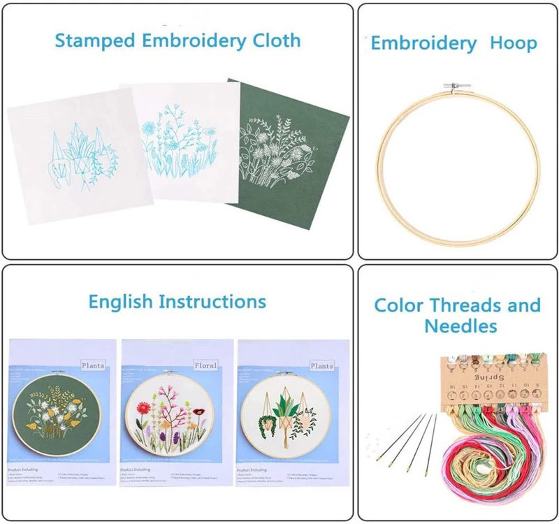 new arrivals embroidery hoops set bamboo Ring DIY Needlecraft embroidery starter kit with cross stitch embroidery tool set