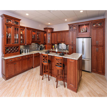 Cherry Red Kitchen Cabinets And Poplar Solid Wood Kitchen Cabinet