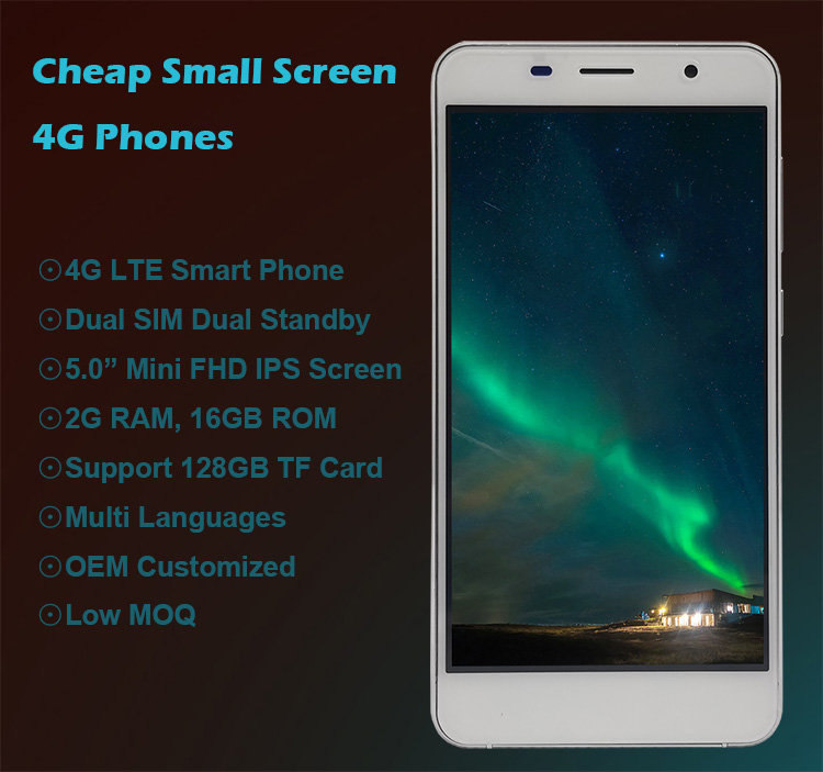 2020 Hot Selling Cheap 5.0 inch Small Screen 4G Lte Mobile phone Android slim Cell Phone with 2GB Ram 16GB Rom
