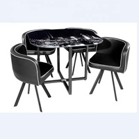 elegant dining table set 1+4 with PU chairs and glass top