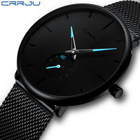 CRRJU 2150 Fashion Mens Minimalist Quartz Watches Wrist Ultra Thin Casual Slim Mesh Steel Waterproof Men Watch