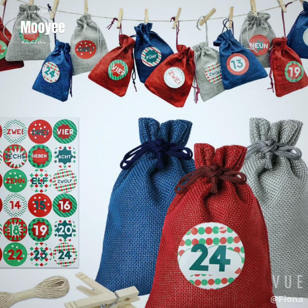 Weihnachten Advent Kalender 24 Tage Sackleinen Hängen Advent Kalender Girlande Candy Geschenk Taschen Säcke DIY Weihnachten Countdown