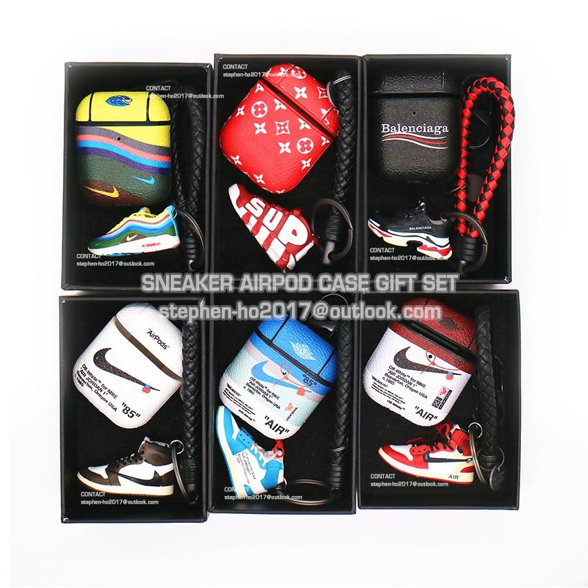 Di alta qualità 3d mini della scarpa da tennis portachiavi scarpa da tennis di cuoio airpods 2 casi con il contenitore di regalo 1 set di 3pcs trasporto di goccia trasporto libero