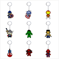 Avengers Keychain Thor Captain America Iron Man Hulk Deadpool Spider Man Key Ring Holder Chaveiro Car Key Chain Pendant Jewelry