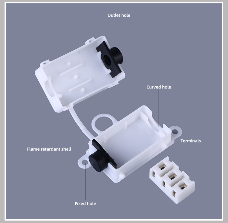 Outdoor Light Electrical Waterproof Junction Box White Black Enclosure Meter Indoor Cable Plastic Terminal Connecting Box