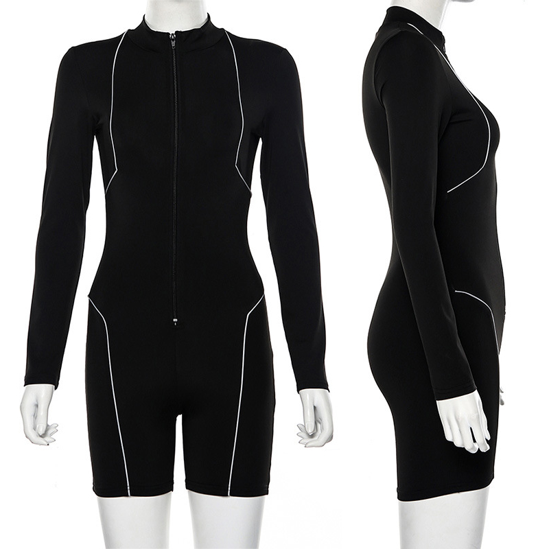 Women's Casual Fitness Long Sleeve Jumpsuit Rompers with Reflective Strips Bodysuits