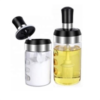 Integrated Empty Glass Spices Jars Set With Spoon And Brush