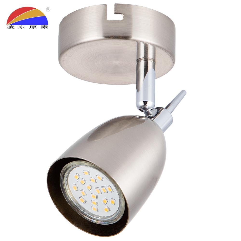 Iron brush nickel round base ceiling spot light spotlight fix GU10 LED bulb
