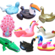 Inflatable giant flamingo pool float with drink holder