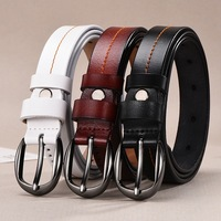 Hot ladies pure leather retro leather wild ladies pin buckle fashion belt