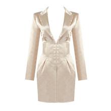 PB 2020 осеннее популярное Новое поступление атласное платье с отложным воротником и длинными рукавами вечерние мини-платья знаменитостей(Китай)
