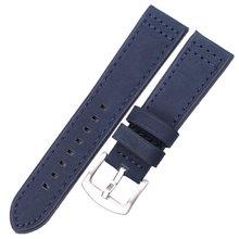 Ремешок для наручных часов из натуральной кожи HENGRC, черный, синий, серый, коричневый ремешок из воловьей кожи для женщин и мужчин, 18, 20, 22, 24 мм(China)