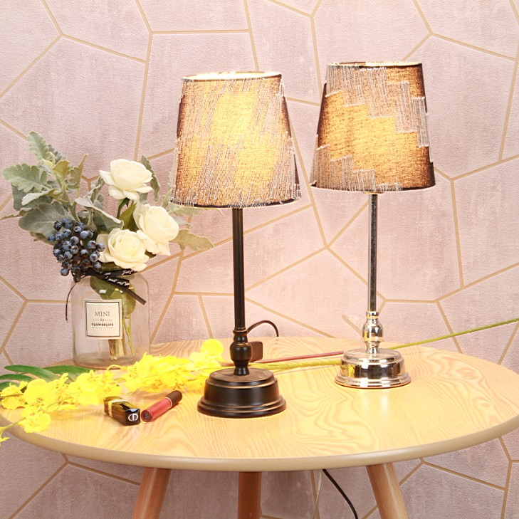 metal table lamp and light