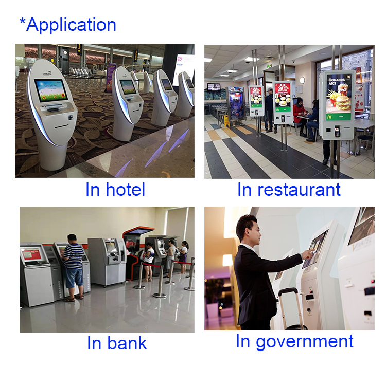 WIFI touch screen payment kiosk with printer and card reader cash dispenser kiosk in convenience store with camera