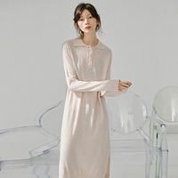 Delicate light thin polo collar 2020 long sleeve maxi knitted dress