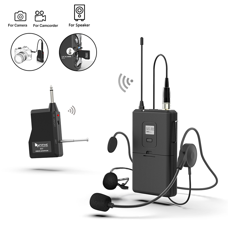 Fifine Grosir Kamera MIC Wireless Lavalier Headset Nirkabel Kerah Klip On Lapel Mikrofon Nirkabel
