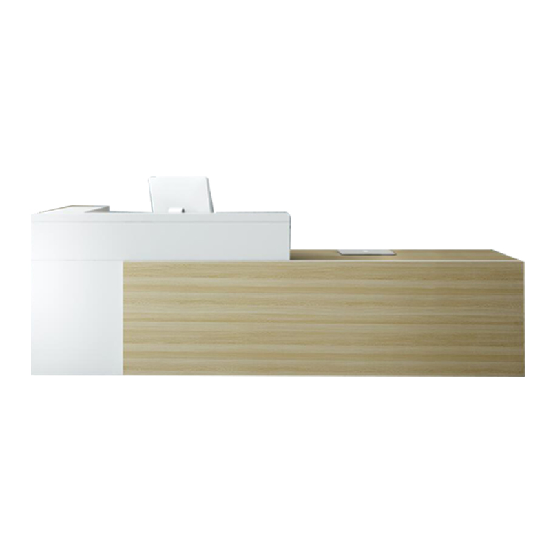 Утомительная L-образная передняя стойка регистрации Современная Белая 2,4 м офисная стойка регистрации