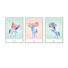 3 Panels Happy Deer Flower Canvas Wall Painting Art