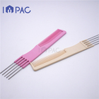 Professional custom hairdressing antistatic plastic hair comb with metal teasing