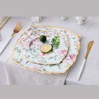 wholesale flower decal fancy gold rim decorative ceramic plate for restaurant