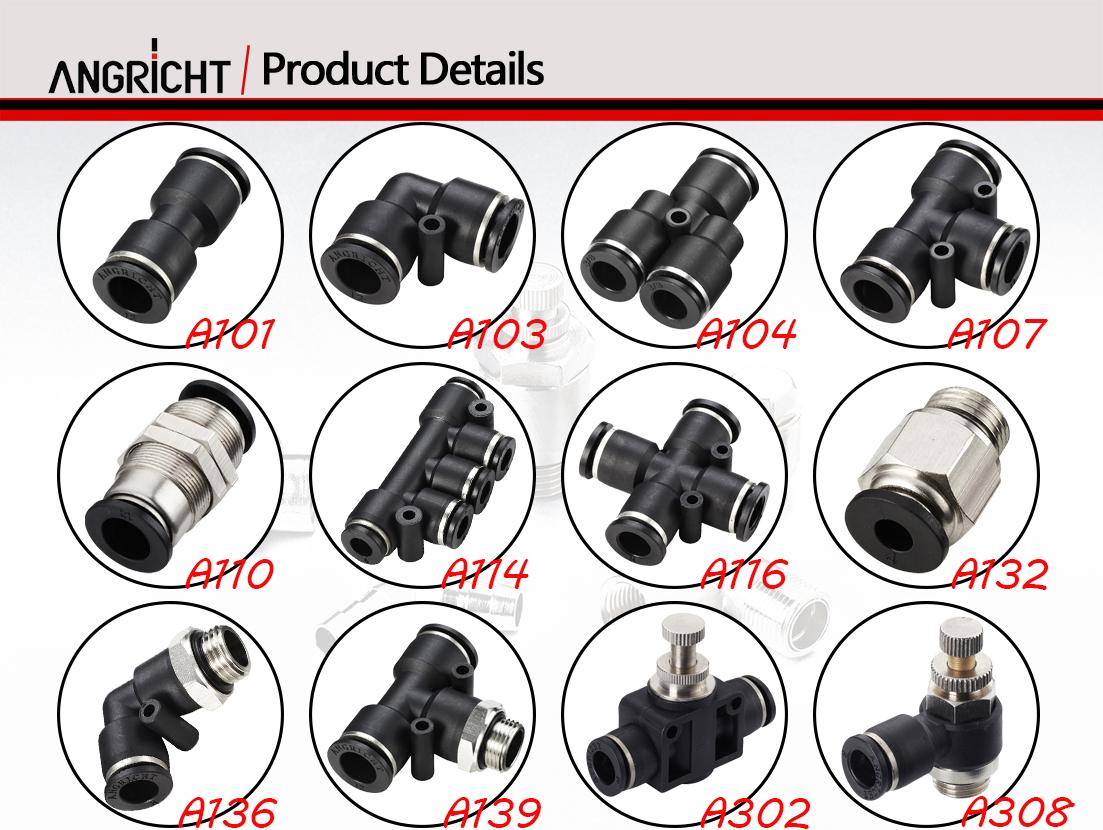 Plastik/logam konektor fitting pneumatik