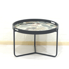 Furniture Side Table Round Large Round Modern Furniture Black Enamel Accent Side End Tray Table