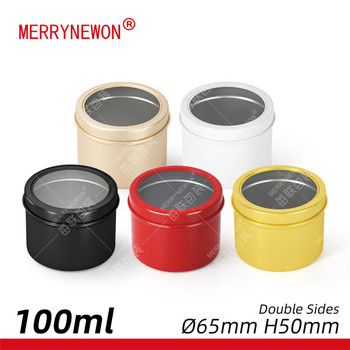60g/ml aluminium metal packaging saffron tin unique candy jar empty tea tin box with window