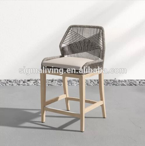 Simple design comfortable outdoor furniture hand-made thin woven rope solid wood patio bar stool