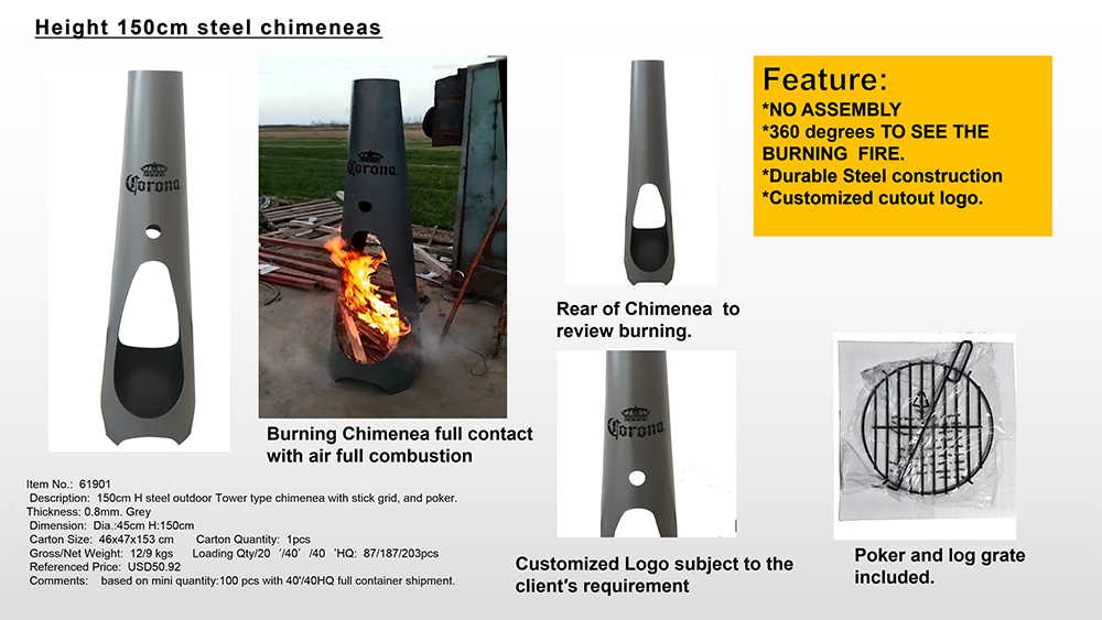 No assembly Large Outdoor Patio  Durable Wood Burning steel Chiminea Fire Pit