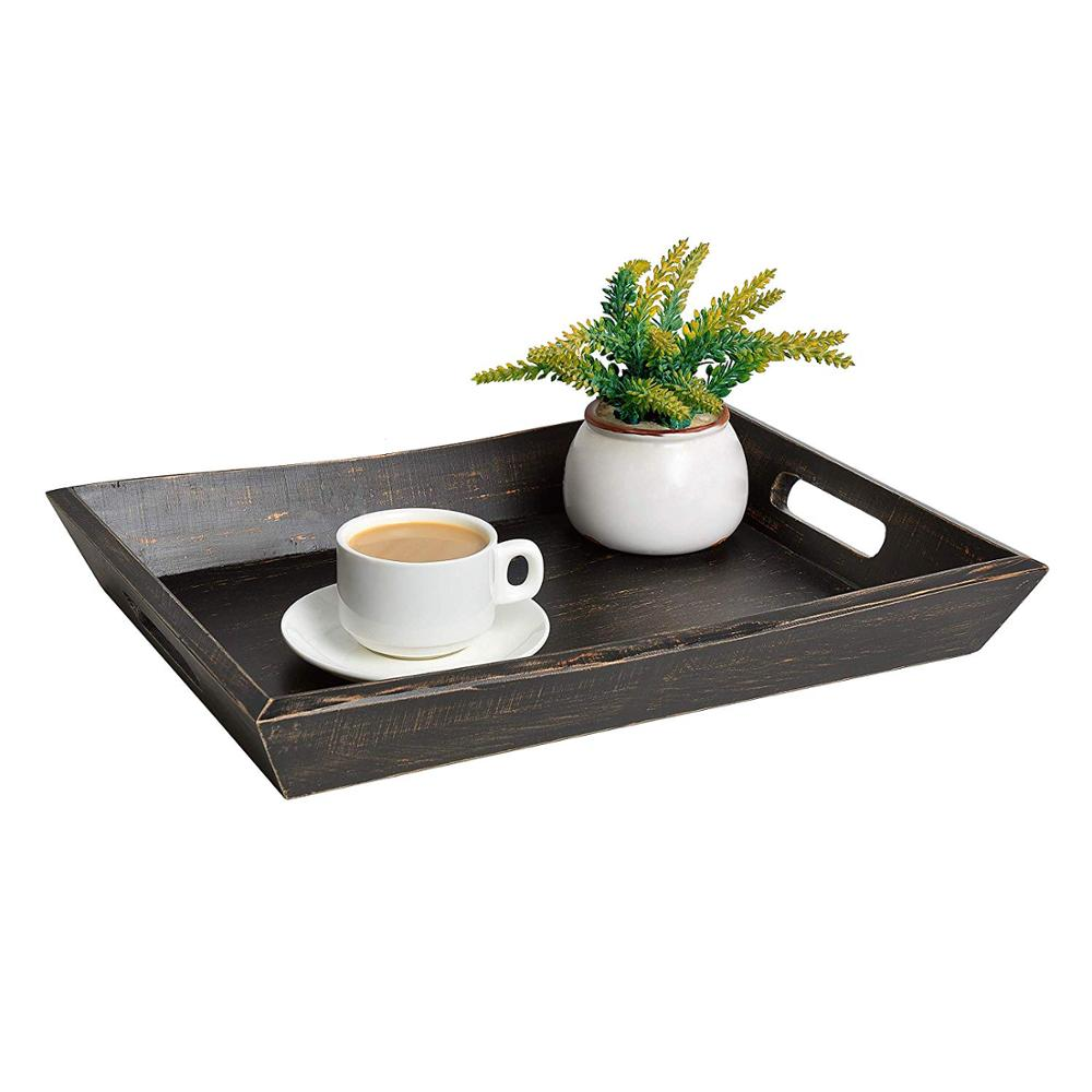 "Wooden Coffee Table Tray Black/Brown 17 x 12"" Modern Decorative Ottoman Rustic Serving Tray With Handles for Tea Pine Wood"