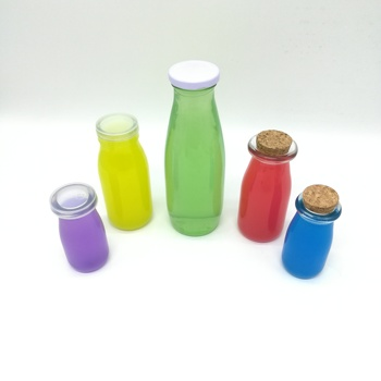 200ml round clear empty jelly packing milk shape glass bottle with easy open plastic cap