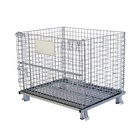 Collapsible galvanized cage storage wire mesh container steel cage pallet box