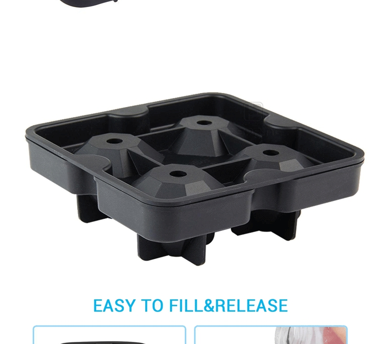 Bpa Free Easy Release Lattice Logo Ice Mold Silicone Ice Cube Tray New