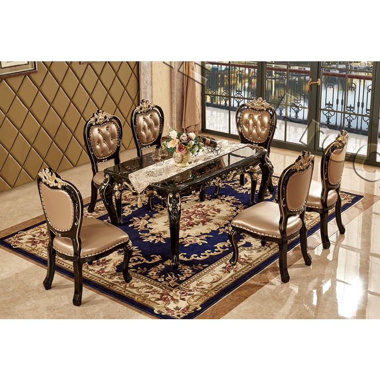 カスタマイズされた豪華ヨーロッパスタイルの木製ダイニングテーブルセットダイニングルームの家具