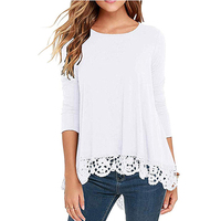 Latest Fashion Loose Lace Spice Ladies Blouse Women Long Sleeve White Blouse